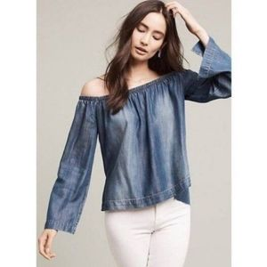Cloth & Stone Chambray Off The Shoulder Top Tencel